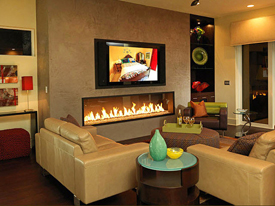Home Theater With Fireplace